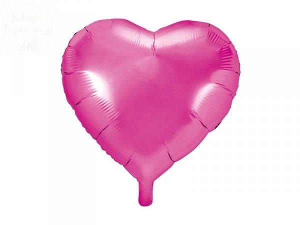 Balon foliowy serce 45 cm ciemny róż