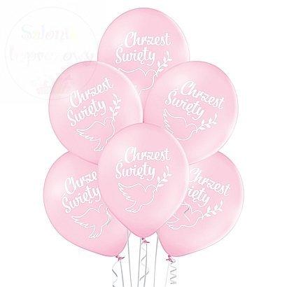Balony różowe Chrzest Święty - 12 cali