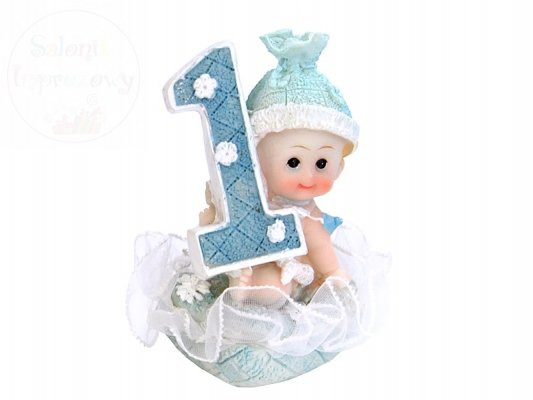 Figurka na tort chłopiec 1 urodziny niebieski