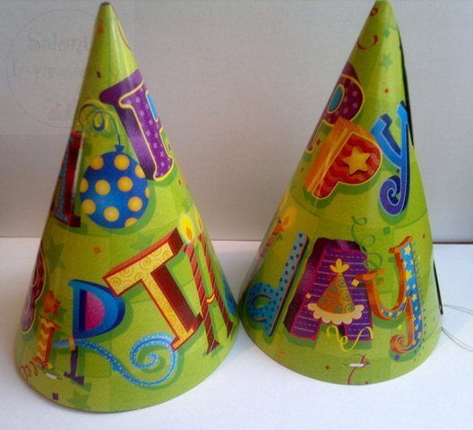 Czapeczki urodzinowe zielone HAPPY BIRTHDAY 6 szt