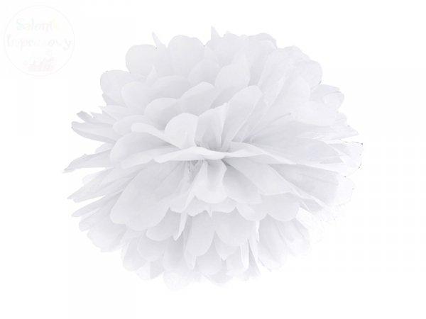 Pompon bibułowy biały 35cm 1szt