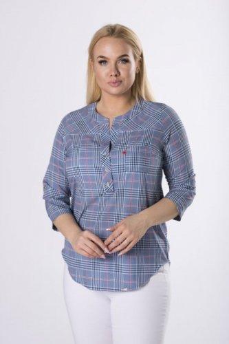 wzorzysta bluzka o koszulowym kroju z guzikami na biuście