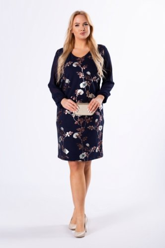 taliowana sukienka z tiulowymi rękawami