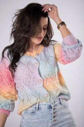sweter ombre z ozdobnymi guzikami
