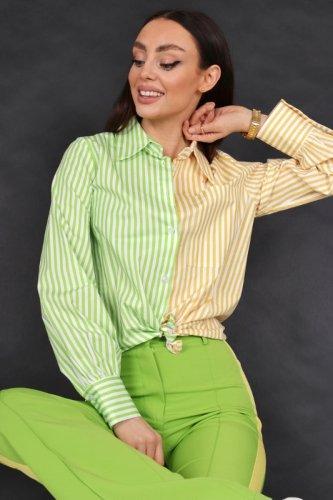 dwukolorowa koszula w paski
