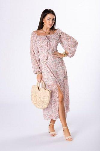 szyfonowa sukienka midi z bufiastymi rękawami