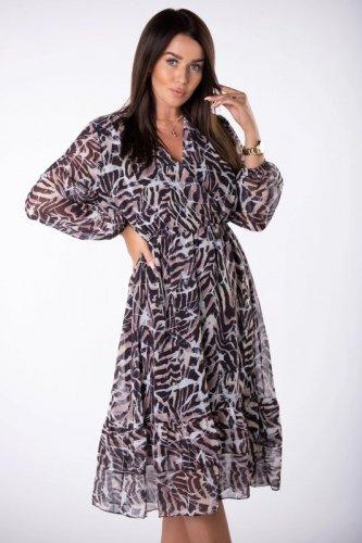 szyfonowa sukienka midi z kopertowym dekoltem