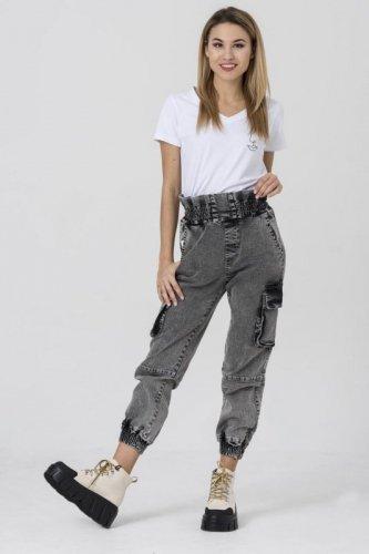 jeansowe spodnie z wysokim stanem