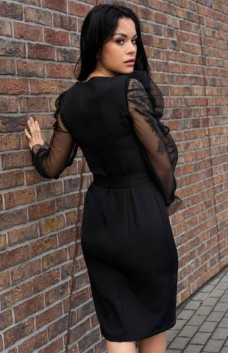Sukienka czarna z tiulowymi rękawami Ereve