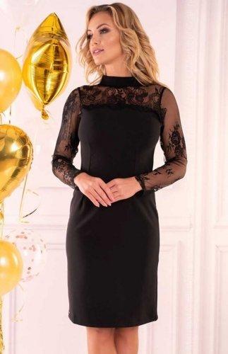 Sukienka czarna z koronką Astrai