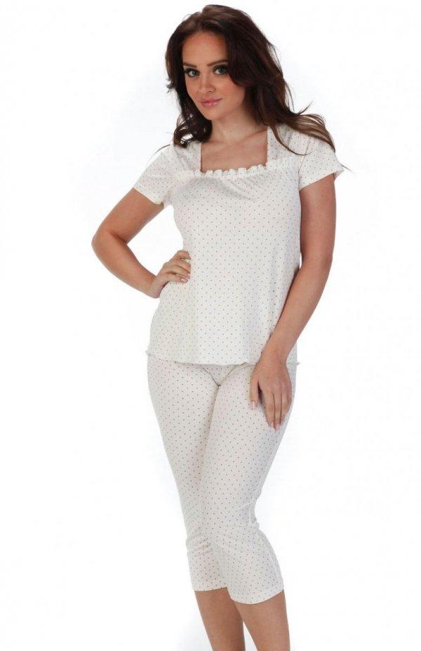 piżama damska de lafense 527 kropki ecru