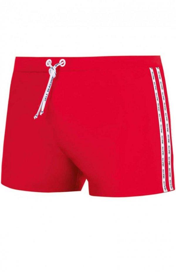 kąpielówki męskie czerwone bokserki ze sznurkiem