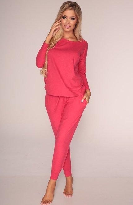 piżama damska de lafense 555 paula malinowa