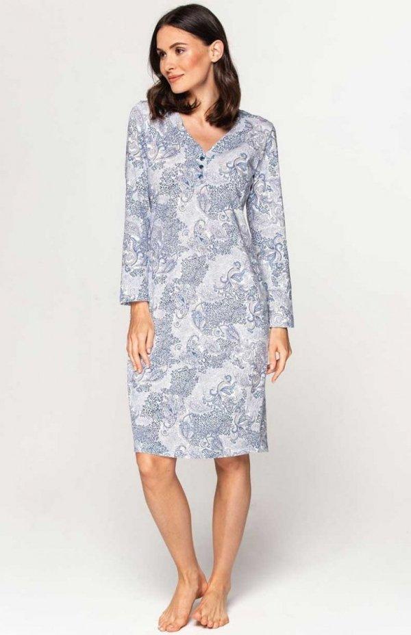 Koszula nocna damska z rozpinanym dekoltem Cana 884 niebieska