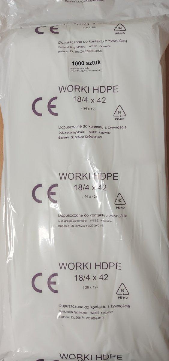 [OPAKOWANIA FOLIOWE]  Worek HDPE 18/4 x 42cm/1000szt
