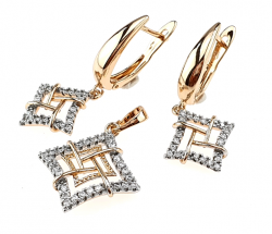 18k gold plated set pendant earrings xuping