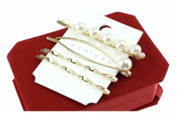 340 komplet spinek z białymi perłami