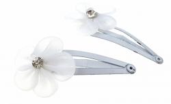 1636 2x spinka klamra do włosów biały kwiatuszek