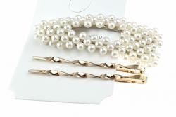 1099 komplet spinek z białymi perłami