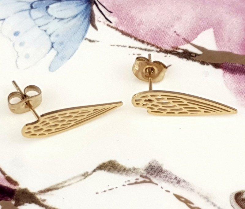 1813 Kolczyki złote celebrytki stal chirurgiczna Blueberry