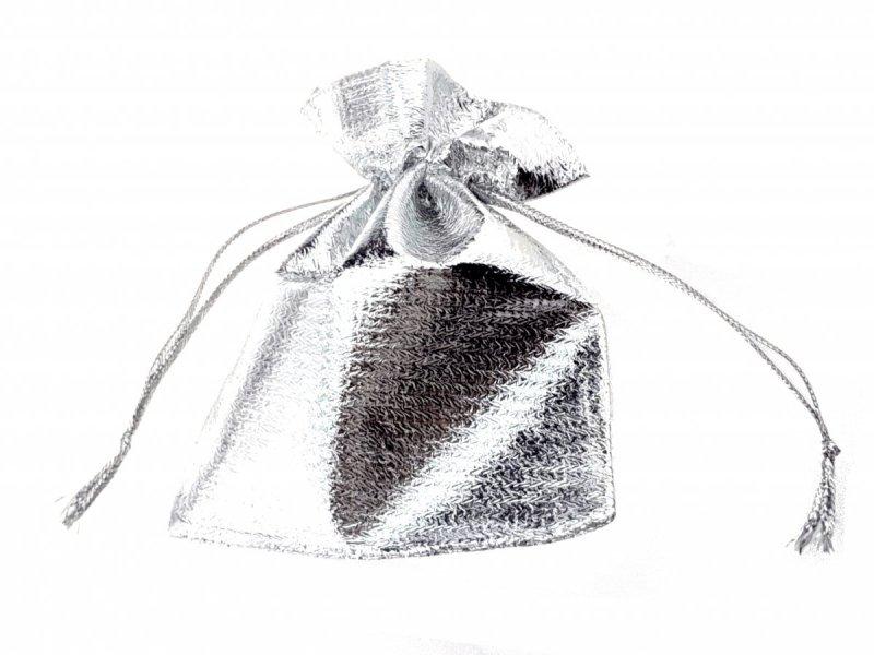PU63 1x srebrny woreczek na biżuterię  / prezent