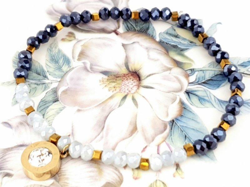 1162k Bransoletka hematyt kryształki celebrytka stal chirurgiczna