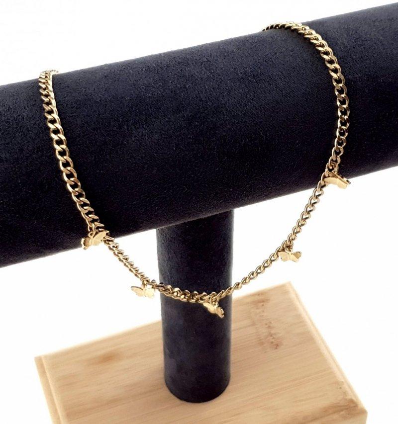 3589 Złoty łańcuszek celebrytka 43cm naszyjnik stal chirurgiczna