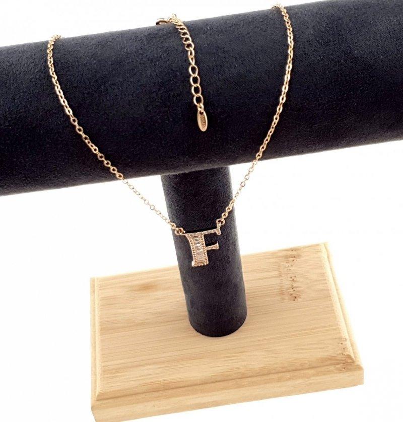 520 Złoty łańcuszek celebrytka 44cm literka F naszyjnik pozłacany