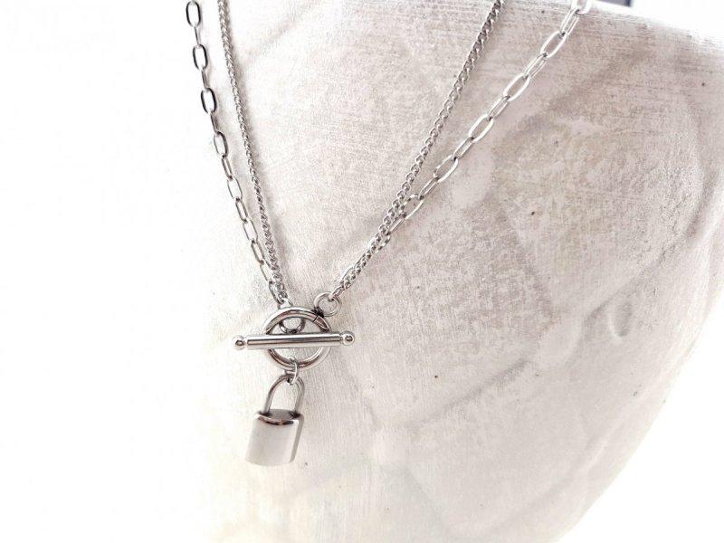 0121 Srebrny łańcuszek celebrytka naszyjnik stal chirurgiczna