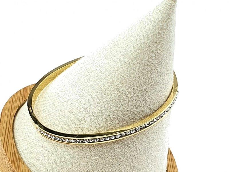 331a Bransoletka złota stal chirurgiczna bangla
