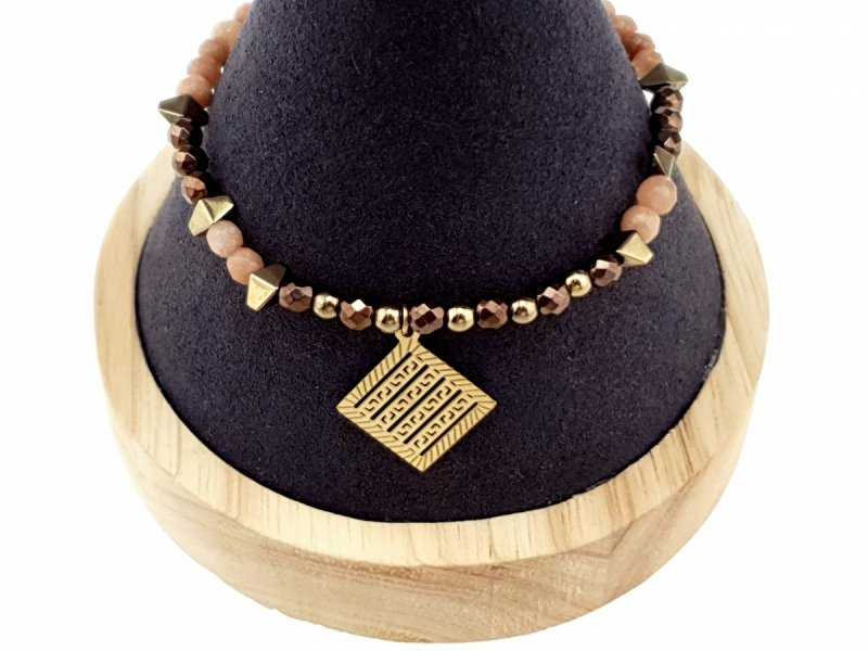 3730e Bransoletka hematyt kryształki kamień naturalny celebrytka stal chirurgiczna