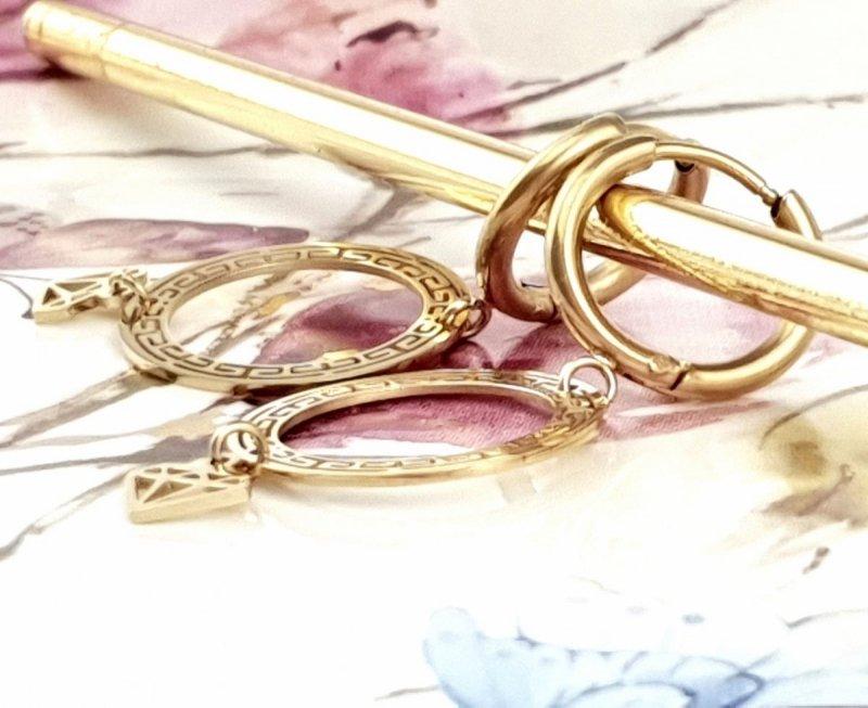 3275 Kolczyki celebrytki złote stal chirurgiczna Blueberry