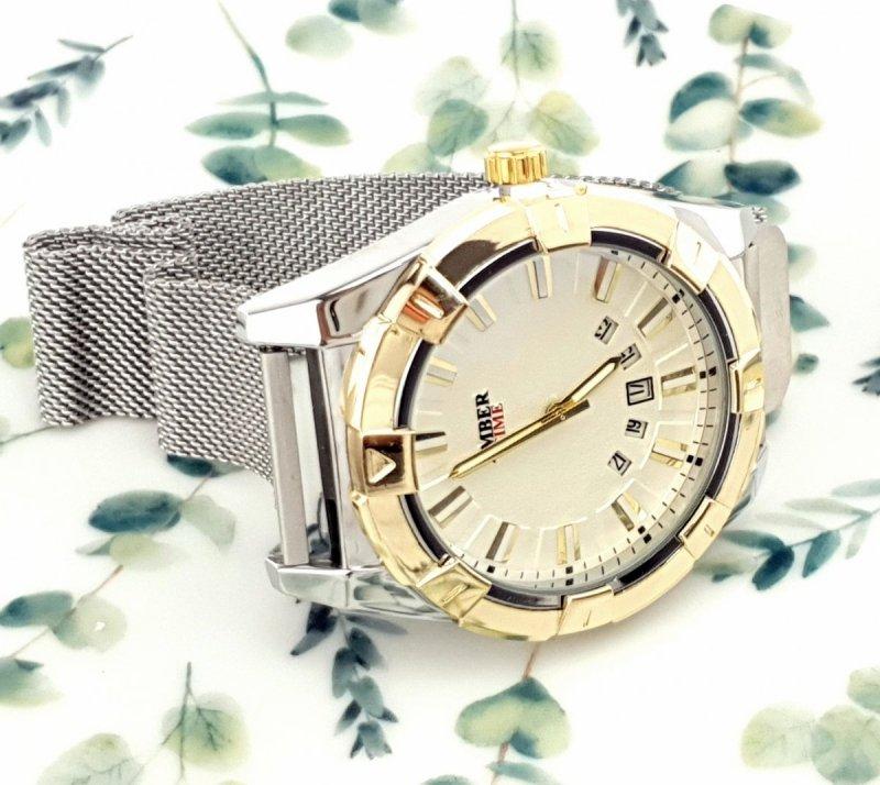 2992 Zegarek męski Amber Time elegancki klasyk srebrny  stal chirurgiczna