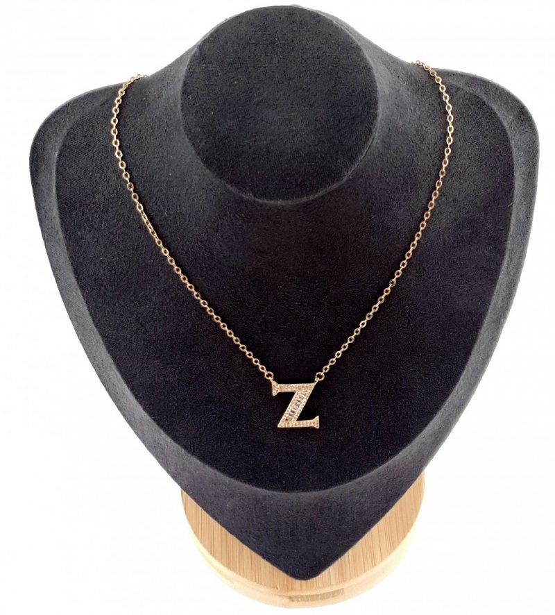3686 Złoty łańcuszek celebrytka 44cm literka Z naszyjnik pozłacany