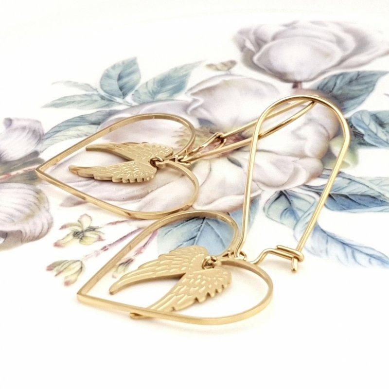 1495 Kolczyki celebrytki złote stal chirurgiczna Blueberry