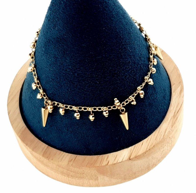 3340 Bransoletka złota celebrytka 22cm stal chirurgiczna Blueberry