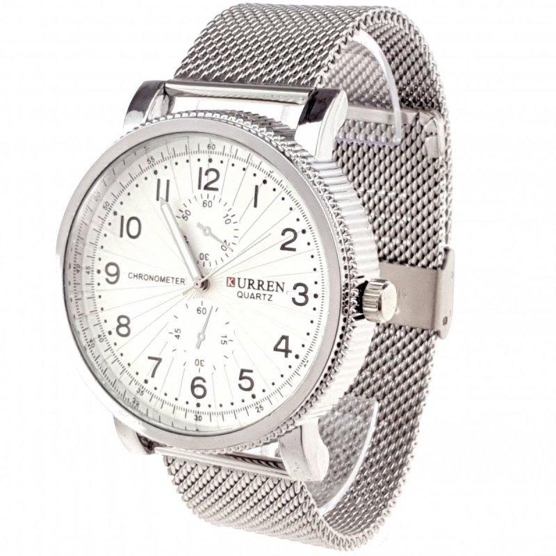 931 Zegarek męski Kurren elegancki klasyk srebrny  stal chirurgiczna