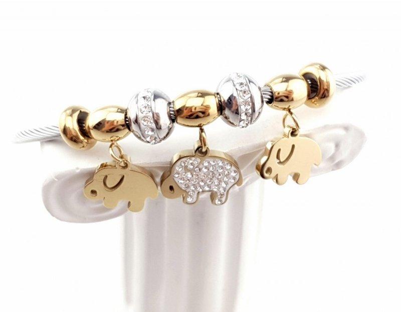 2628 Bransoletka srebrna złota stal chirurgiczna bangla