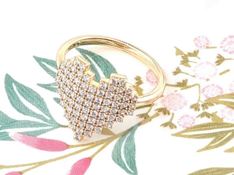 495j Pierścionek 17,00mm złoty zaręczynowy pozłacany