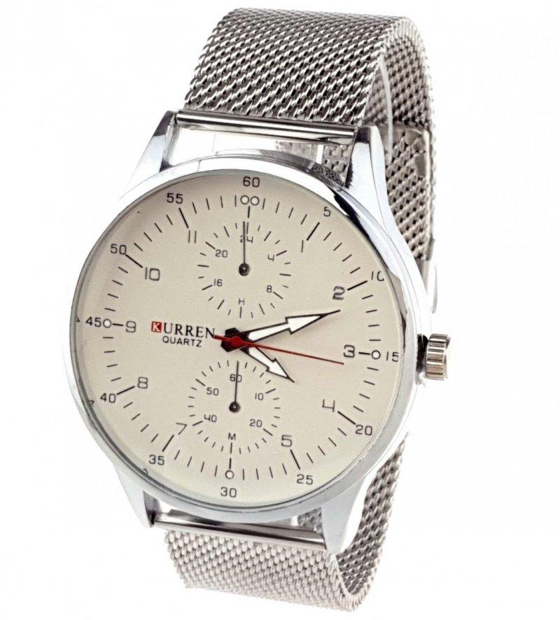 1117a Zegarek męski Kurren elegancki klasyk srebrny  stal chirurgiczna