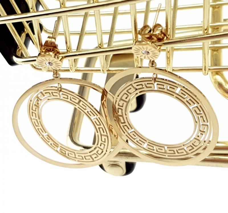 1655 Kolczyki celebrytki złote stal chirurgiczna Blueberry