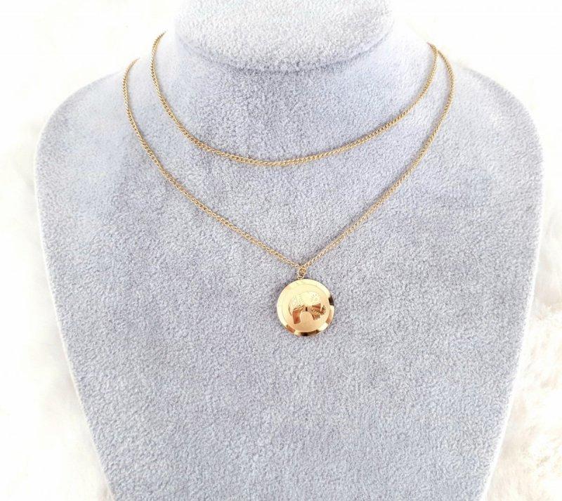 2281 Złoty łańcuszek celebrytka naszyjnik stal chirurgiczna Blueberry