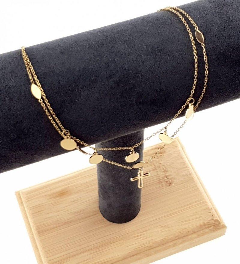 1878 Złoty łańcuszek 44cm celebrytka naszyjnik stal chirurgiczna