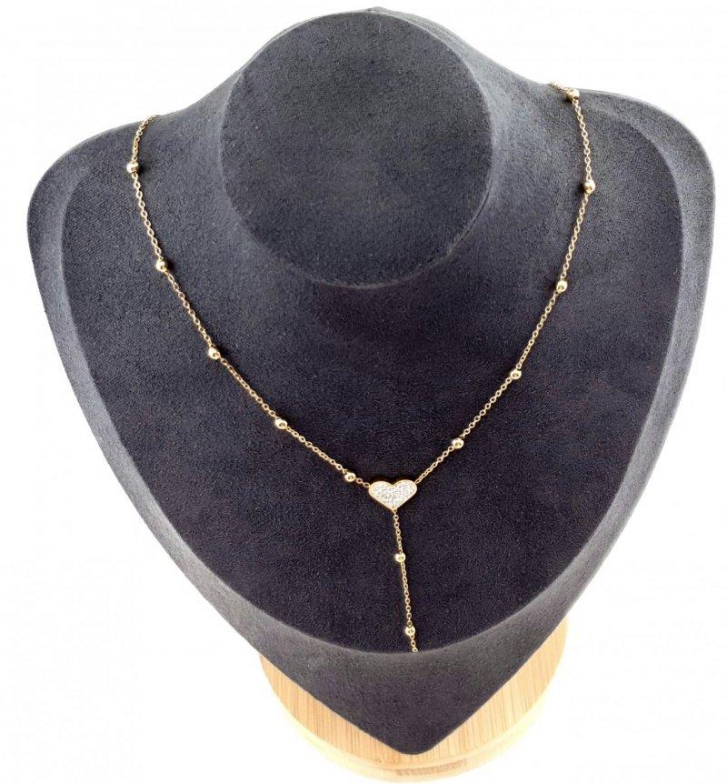 455b Złoty łańcuszek celebrytka 48cm naszyjnik stal chirurgiczna