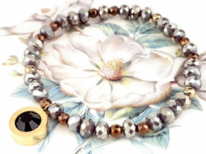 1936d Bransoletka hematyt kryształki celebrytka stal chirurgiczna