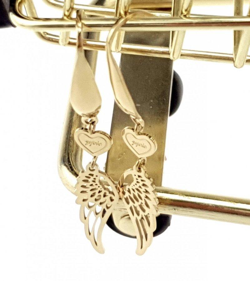 3519 Kolczyki celebrytki złote stal chirurgiczna Blueberry