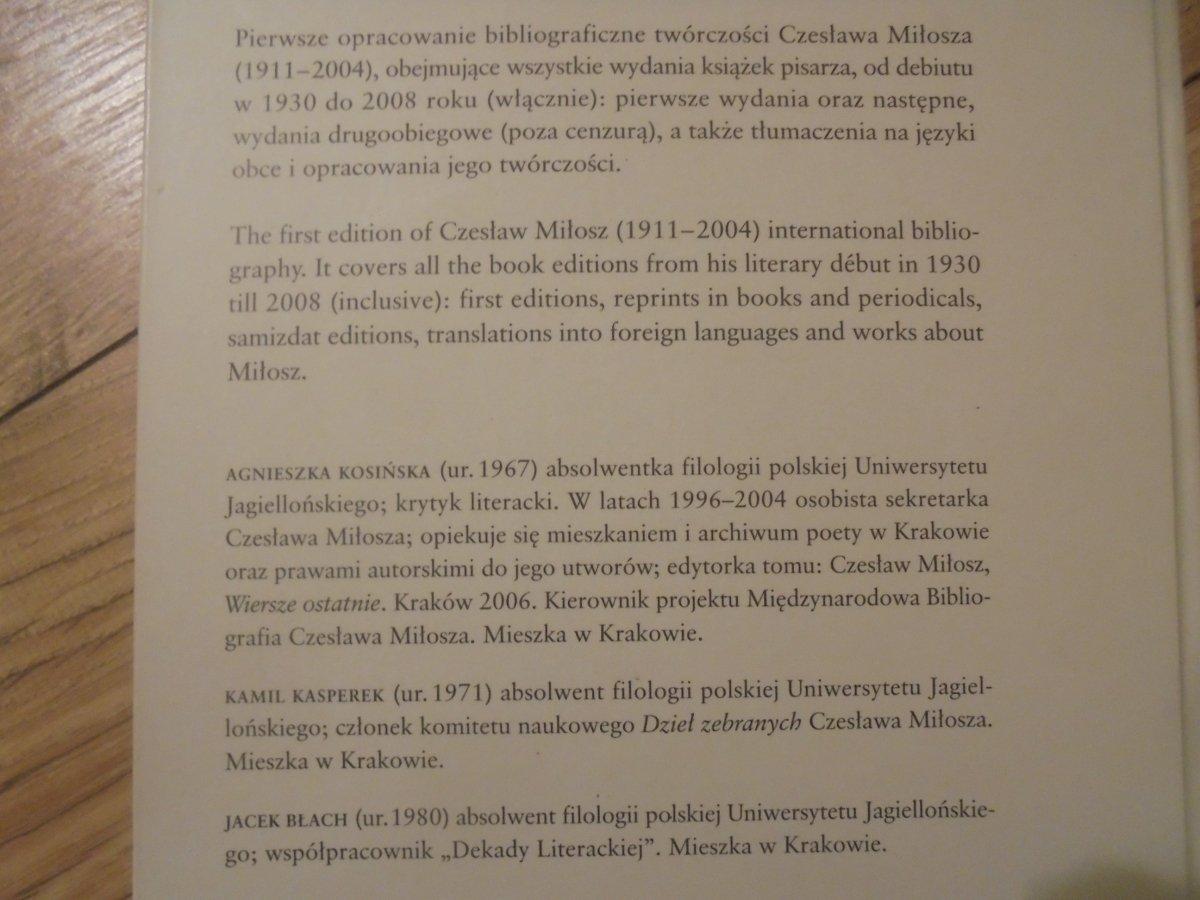 Agnieszka Kosińska Czesław Miłosz Bibliografia Druków Zwartych