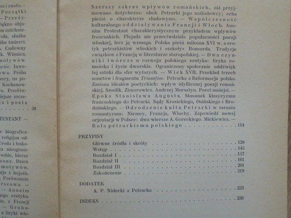 Mieczysław Brahmer • Petrarkizm w poezji polskiej XVI wieku