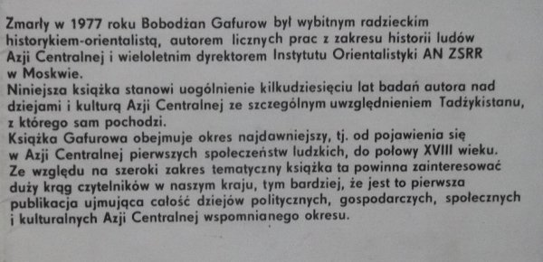 Bobodżan Gafurow • Dzieje i kultura ludów Azji Centralnej