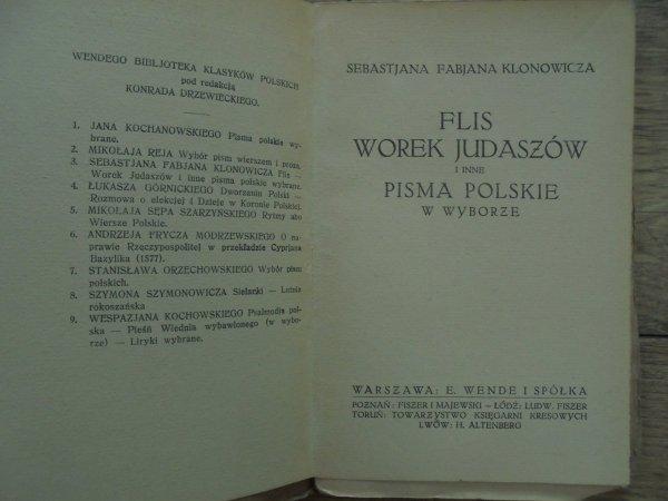 Sebastian Fabian Klonowic • Flis, Worek Judaszów i inne pisma polskie [1920]